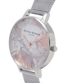 Olivia Burton Abstract Floral Big Dial Mesh Watch - Silver