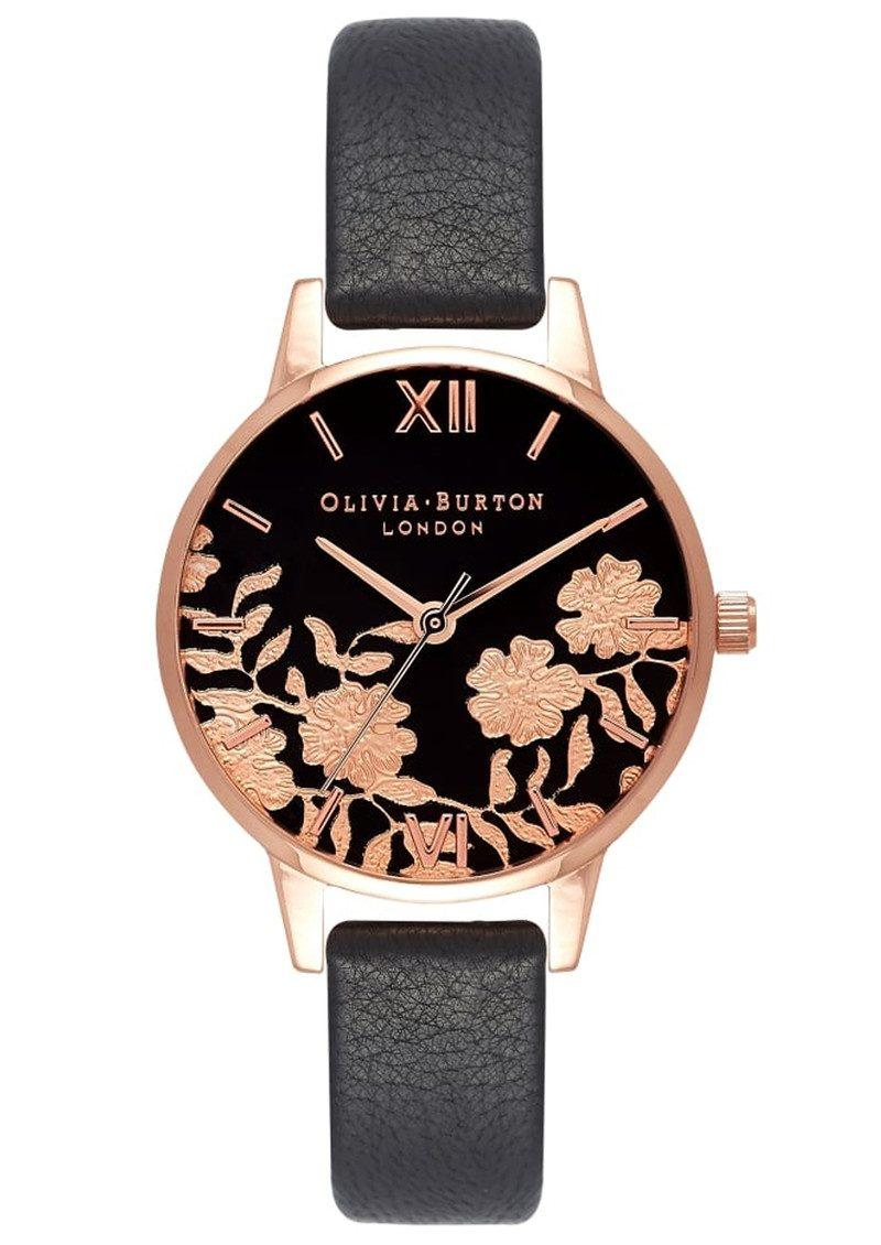 a54852d3597c3 Olivia Burton Lace Detail Midi Dial Watch - Black   Rose Gold