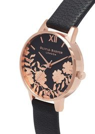 Olivia Burton Lace Detail Midi Dial Watch - Black & Rose Gold