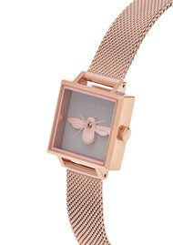 Olivia Burton 3D Bee Square Grey Dial Mesh Watch - Rose Gold
