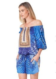 Hale Bob Westina Off Shoulder Playsuit - Cobalt Blue