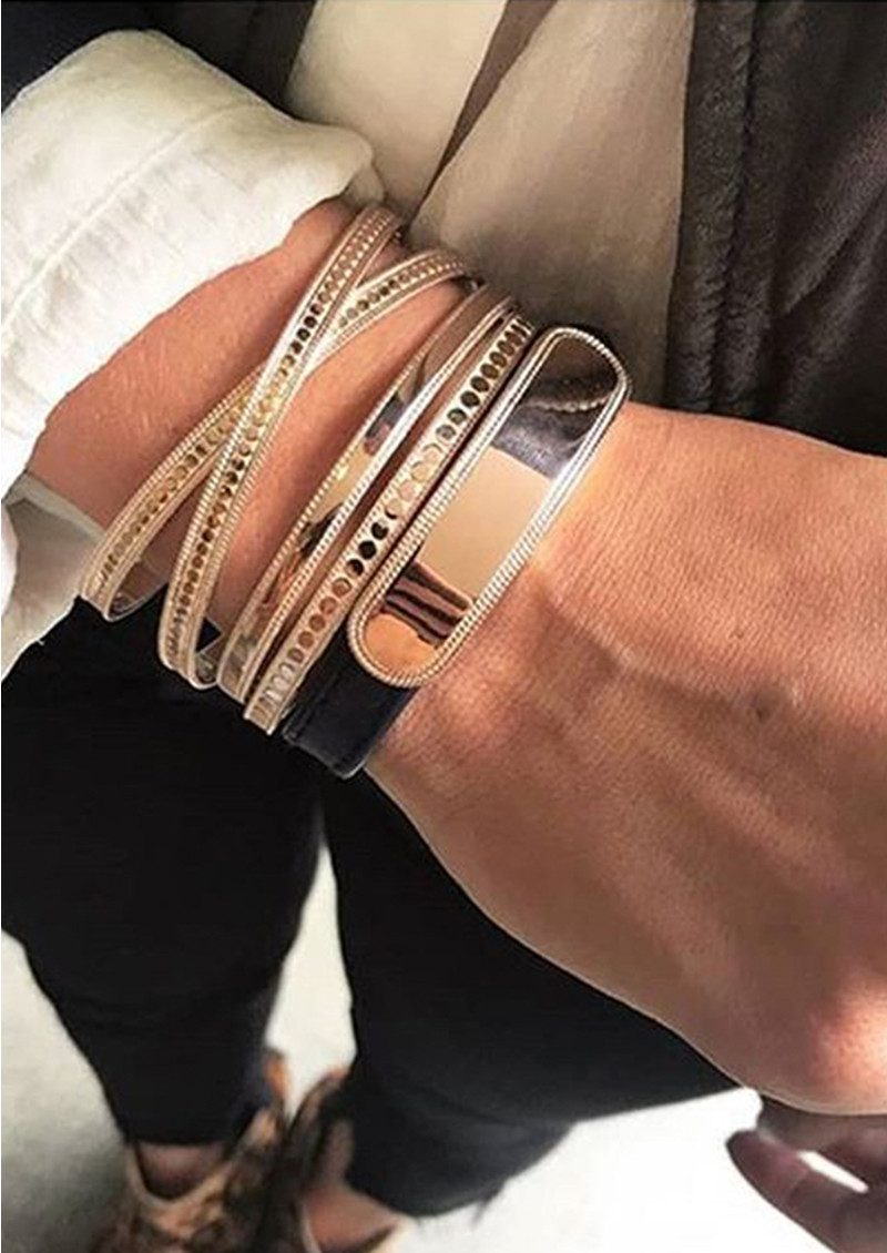 ANNA BECK Leather Band Bracelet - Navy & Rose Gold main image
