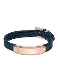 ANNA BECK Leather Band Bracelet - Navy & Rose Gold