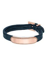 ANNA BECK Leather Band Bracelet - Navy & Rose Gold