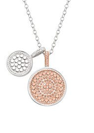 ANNA BECK Reversible Double Disc Charm Necklace - Rose Gold & Silver