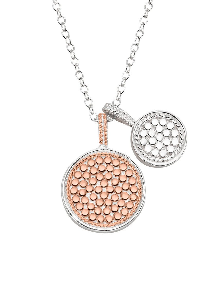 ANNA BECK Reversible Double Disc Charm Necklace - Rose Gold & Silver main image