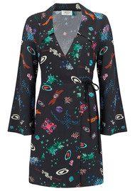 RIXO London Eliza Mini Wrap Dress - Space Age Floral