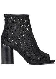Ash Flirt Peep Toe Suede Boots - Black