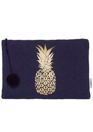 ASHIANA Large Gold Printed Pouch - Navy Pineapple