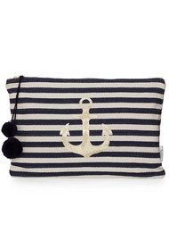 ASHIANA Large Gold Printed Pouch - Navy Anchor
