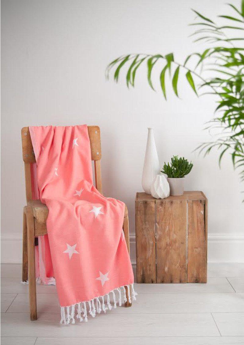 HAMMAMHAVLU Yildiz Star Towel - Neon Coral main image