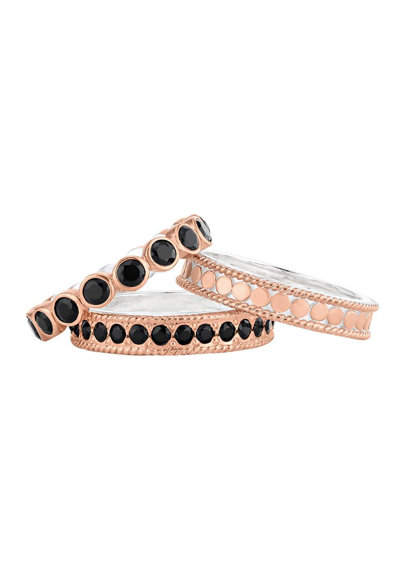 ANNA BECK Set of 3 Rings - Rose Gold & Black Onyx main image