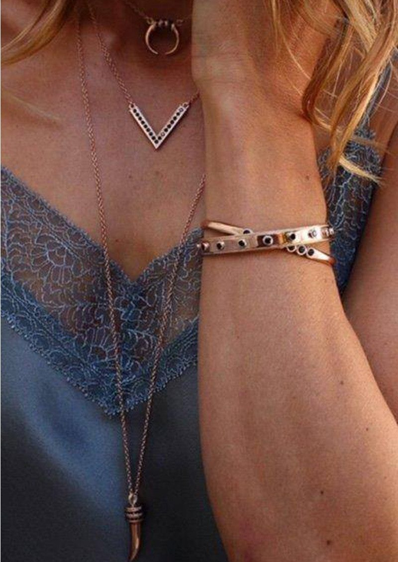 ANNA BECK Reversible Pave V Necklace - Rose Gold & Black Onyx main image