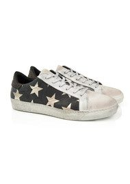 AIR & GRACE Cru Trainer - Black & Light Gold Star Print