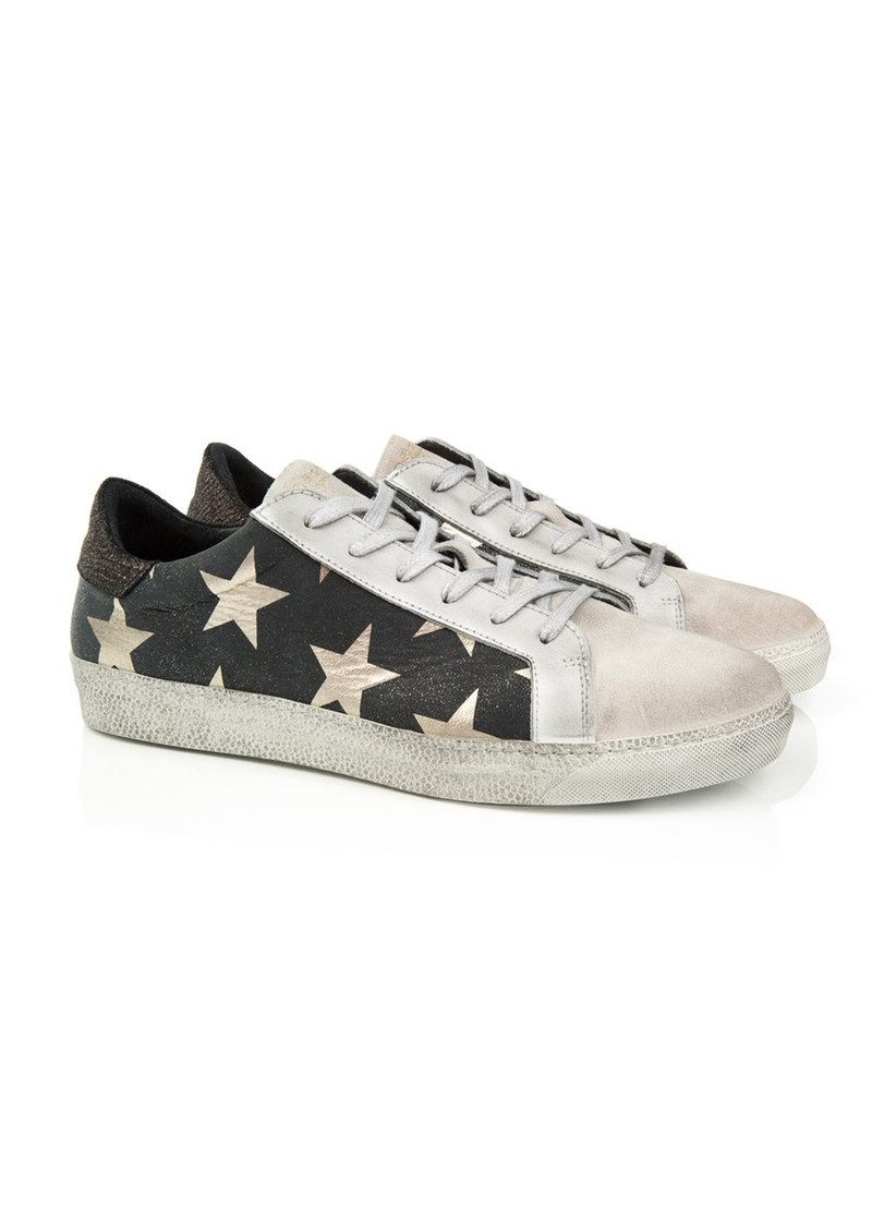 AIR & GRACE Cru Trainer - Black & Light Gold Star Print main image