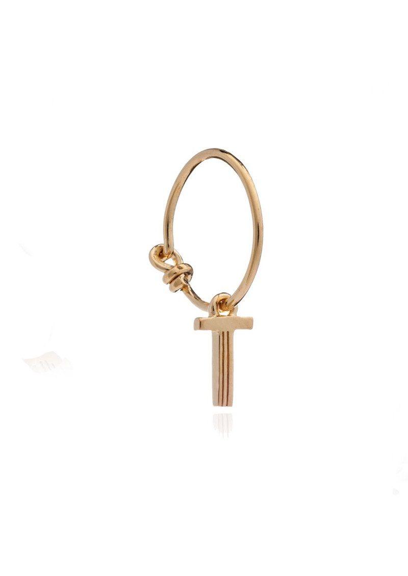 RACHEL JACKSON This is Me Gold Mini Hoop Earring - Letter T main image