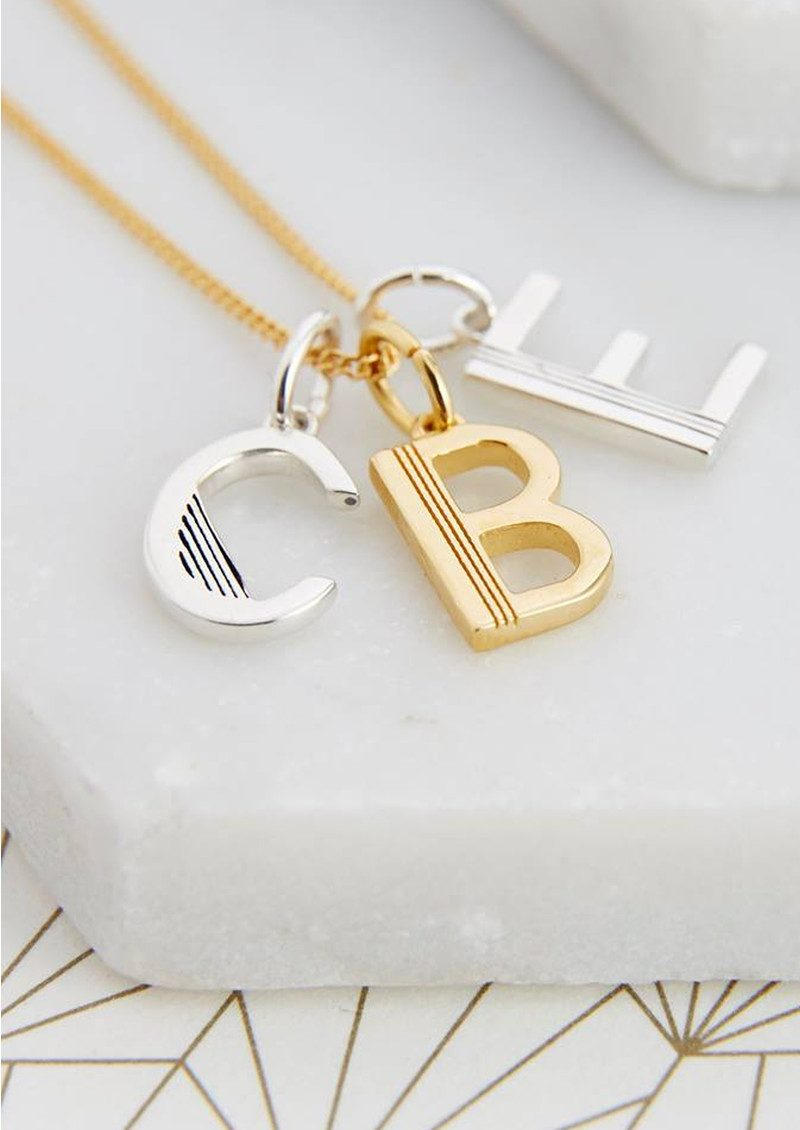This Is Me 'E' Alphabet Necklace - Gold main image