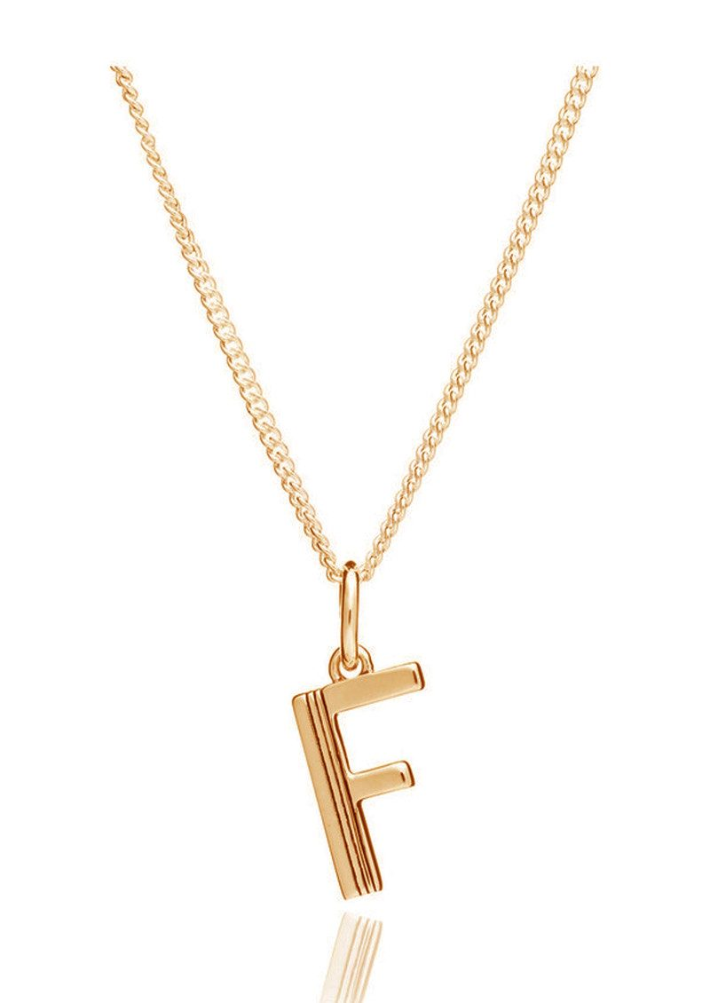 RACHEL JACKSON This Is Me 'F' Alphabet Necklace - Gold main image