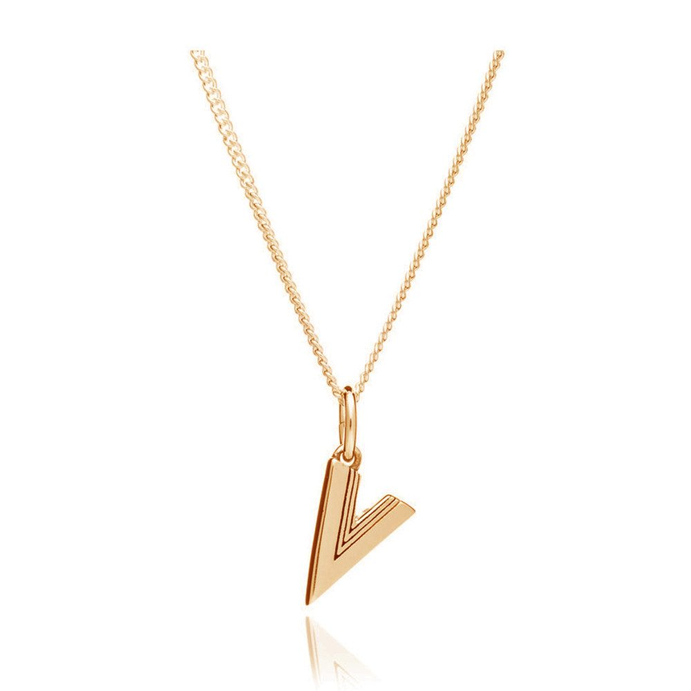 This Is Me 'V' Alphabet Necklace - Gold