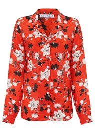 Lily and Lionel Girlfriend Silk Shirt - Red Magnolia
