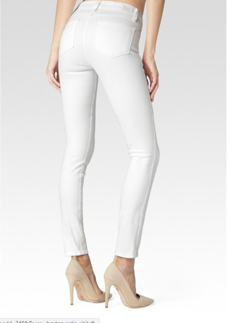 Paige Denim Hoxton Ankle Peg Ultra Skinny Cropped Jeans - Ultra White main image