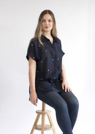 NOOKI Beatrice Embroidered Shirt - Navy