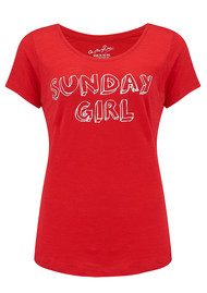 ON THE RISE Sunday Girl Tee - Red & White