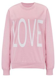 ON THE RISE Oversized Love Sweater - Pink & White