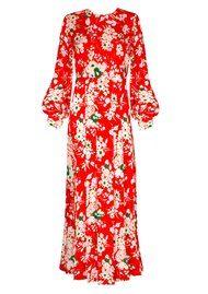RIXO London Emma Midi Dress - Red Bunch Floral