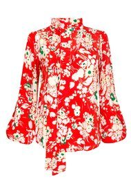 RIXO London Moss Blouse - Red Bunch Floral
