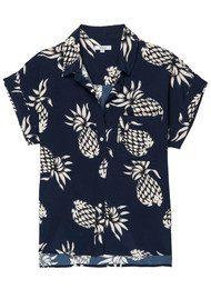 Rails Whitney Silk Top - Ananas Navy