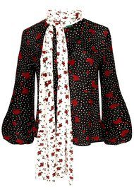 RIXO London Angie Boho Floral Blouse - Red & Black