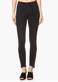 Paige Denim Margot Crop Skinny Uneven Hem with Zip Jeans - Black Fog