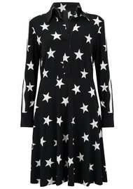 NORMA KAMALI Side Strip Shirt Flared Dress - Stars & Stripes