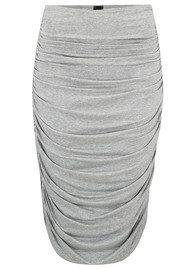NORMA KAMALI Shirred Skirt to Knee - Light Grey