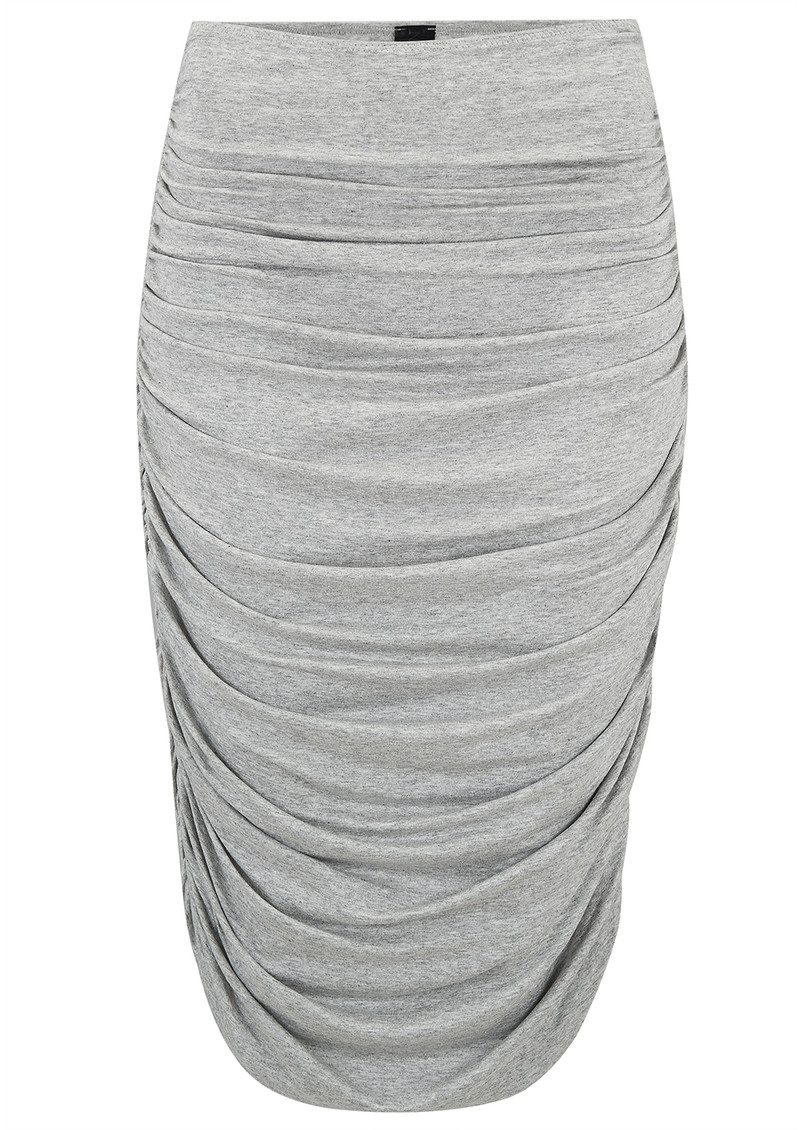 NORMA KAMALI Shirred Skirt to Knee - Light Grey main image