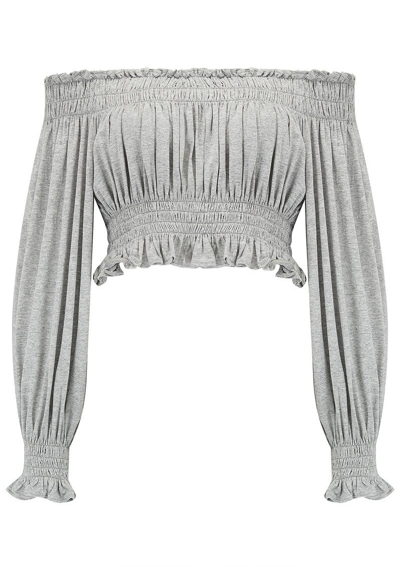 Cropped Peasant Top - Light Grey main image