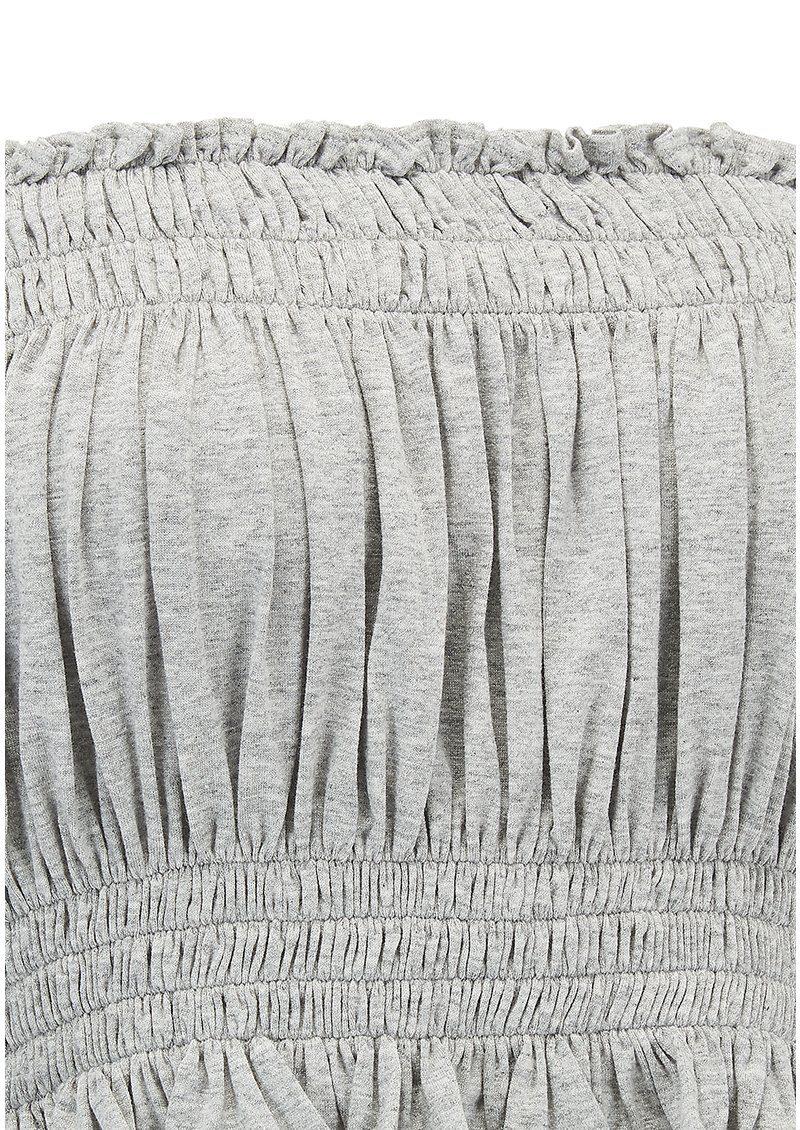 NORMA KAMALI Cropped Peasant Top - Light Grey main image
