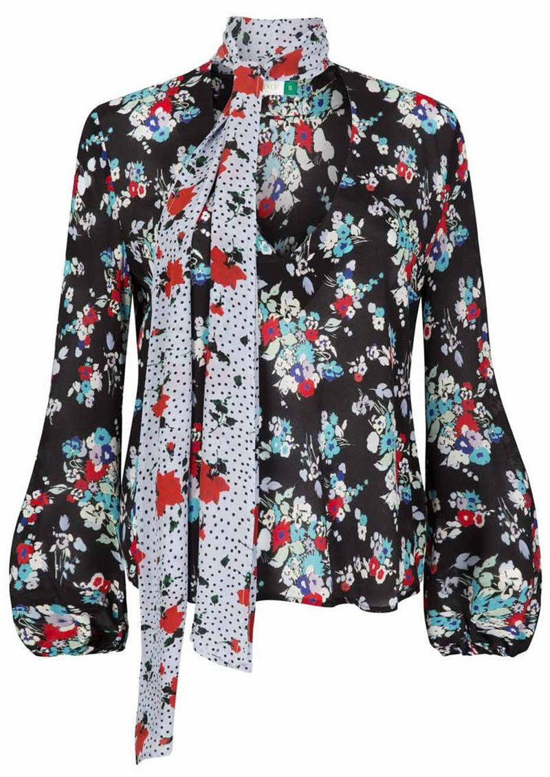 Black Angie blouse with roses print Rixo London Clearance Cheap New Arrival Cheap Online Outlet Wholesale Price Discounts UuePAexC