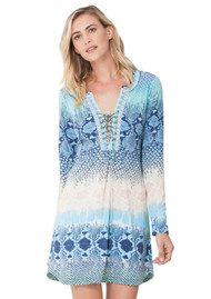 Hale Bob Jael Mesh Lace Up Dress - Blue