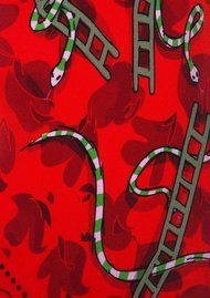 ROCKINS Classic Skinny Scarf - Snakes & Ladders Red