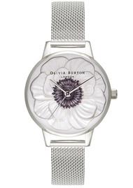 Olivia Burton Midi 3D Anemone Mesh Watch - Silver