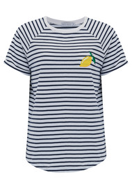 SOUTH PARADE Jackie Lemon Embroidered Tee - White & Navy