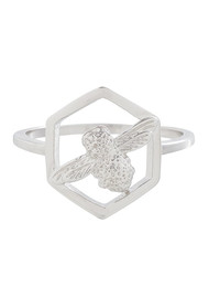 Olivia Burton Honeycomb Bee Ring - Silver