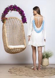 SUNDRESS Indiana Basic Short Dress Cover Up - White & Light Blue