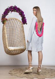 SUNDRESS Indiana Basic Short Dress Cover Up - Precieuse Grey & Neon Coral