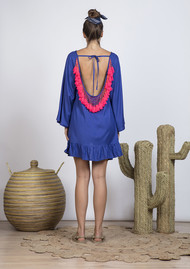 SUNDRESS Indiana Basic Short Dress Cover Up - Royal Blue & Neon Coral