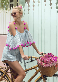SUNDRESS Sofia Sequin Playsuit - Grey & Neon Pink