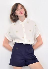 Des Petits Hauts  Eglentine Lurex Shirt - Ecru