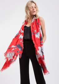 Lily and Lionel Magnolia Silk Scarf - Red